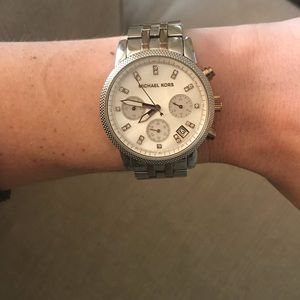 MICHAEL Michael Kors silver and rose gold watch